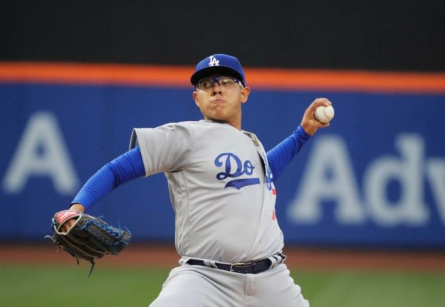 Dodgers LHP Julio Urias delivers a pitch during his MLB debut Friday. (Photo by Al Bello/Getty Images)