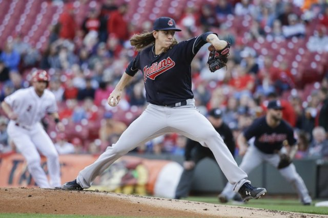 Mike Clevinger throws a pitch during his MLB debut for the Cleveland Indians on Wednesday. (Photo by John Minchillo/The Associated Press)