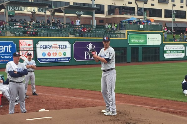 Tigers RHP Shane Greene warms up in the bullpen before pitching at Parkview Field on Friday. (Photo tweeted by Whitecaps broadcaster Dan Hasty)
