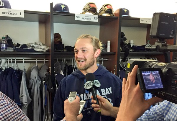 Former Hot Rods utilityman Taylor Motter talks to the media before making his MLB debut for the Rays on Monday. (Tampa Bay Rays photo)