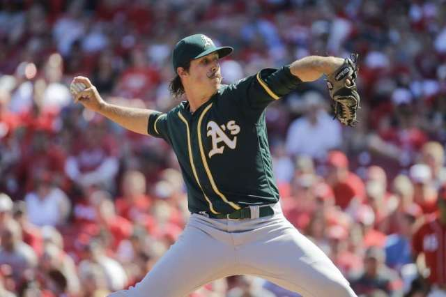 A's pitcher Daniel Mengden delivers a pitch during his MLB debut Saturday. (Photo by John Minchillo/Associated Press)