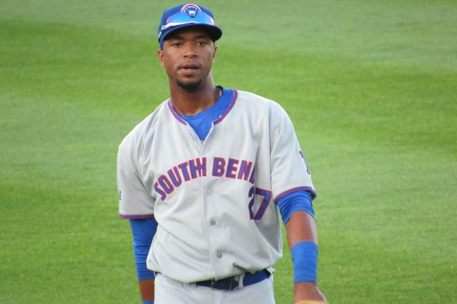 South Bend Cubs outfielder Eloy Jimenez is the Midwest League offensive player of the week. (Photo by Craig Wieczorkiewicz/The Midwest League Traveler)