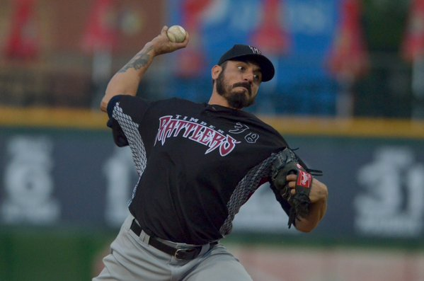 Brewers righty Matt Garza delivers a pitch during his rehab start for the Timber Rattlers on Tuesday. (Photo tweeted by the Peoria Chiefs)