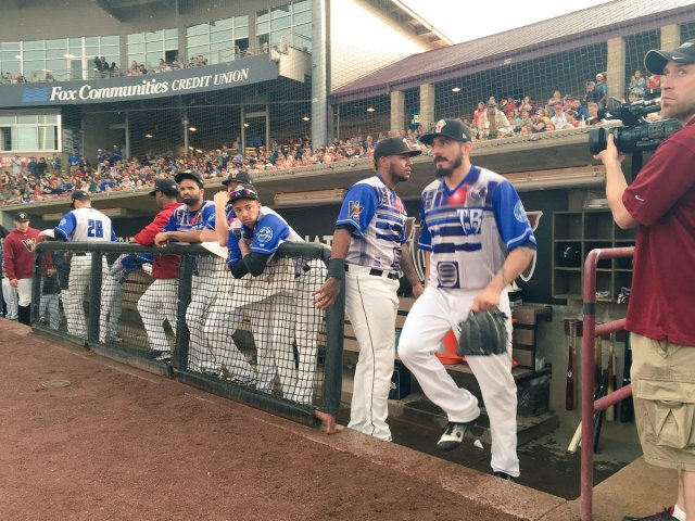 Brewers pitcher Matt Garza (exiting dugout) made another rehab start for the Timber Rattlers on Saturday, which was Star Wars Night at Fox Cities Stadium. (Photo tweeted by NBC26 sports reporter Andy McDonnell)
