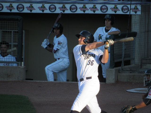 Kane County Cougars first baseman Trevor Mitsui drove in two runs with this swing in the 1st inning.