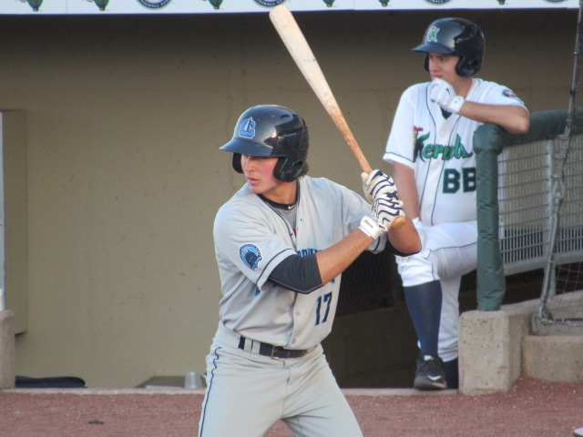 Cleveland Indians prospect Tyler Krieger had a 23-game hitting streak for the Lake County Captains this year. (Photo by Craig Wieczorkiewicz/The Midwest League Traveler)