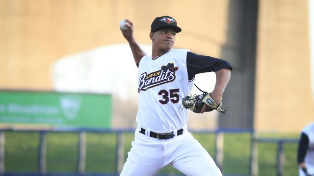 Quad Cities River Bandits righty Albert Abreu is the Midwest League Pitcher of the Week. (Photo courtesy of Sean Flynn Photography)