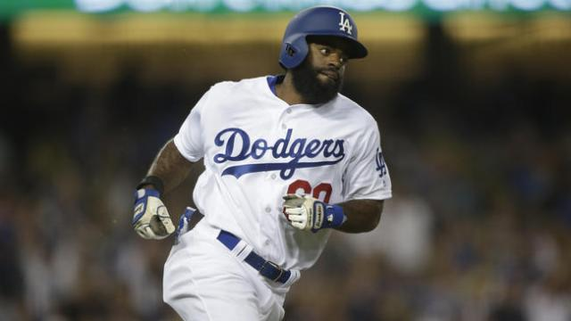Andrew Toles runs the bases during his major-league debut on Friday. (Photo by Robert Gauthier/Los Angeles Times)