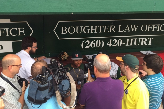 Top San Diego Padres prospect Anderson Espinoza meets members of the media in Fort Wayne before Monday's TinCaps game. (Photo tweeted by TinCaps broadcaster Mike Monaco)