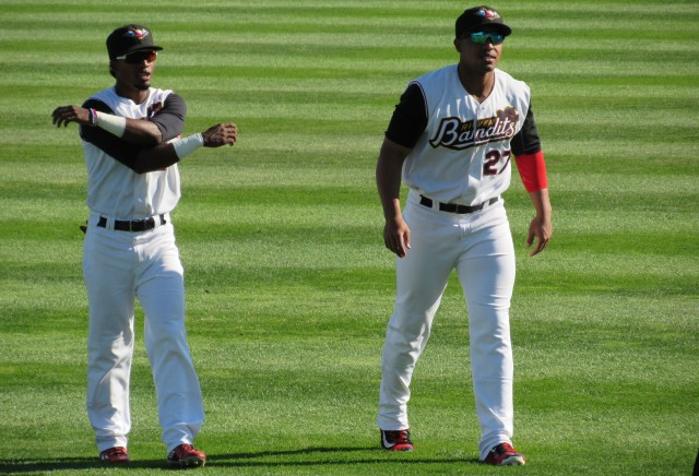 Quad Cities River Bandits RF Hector Roa (left) and 1B Dexture McCall