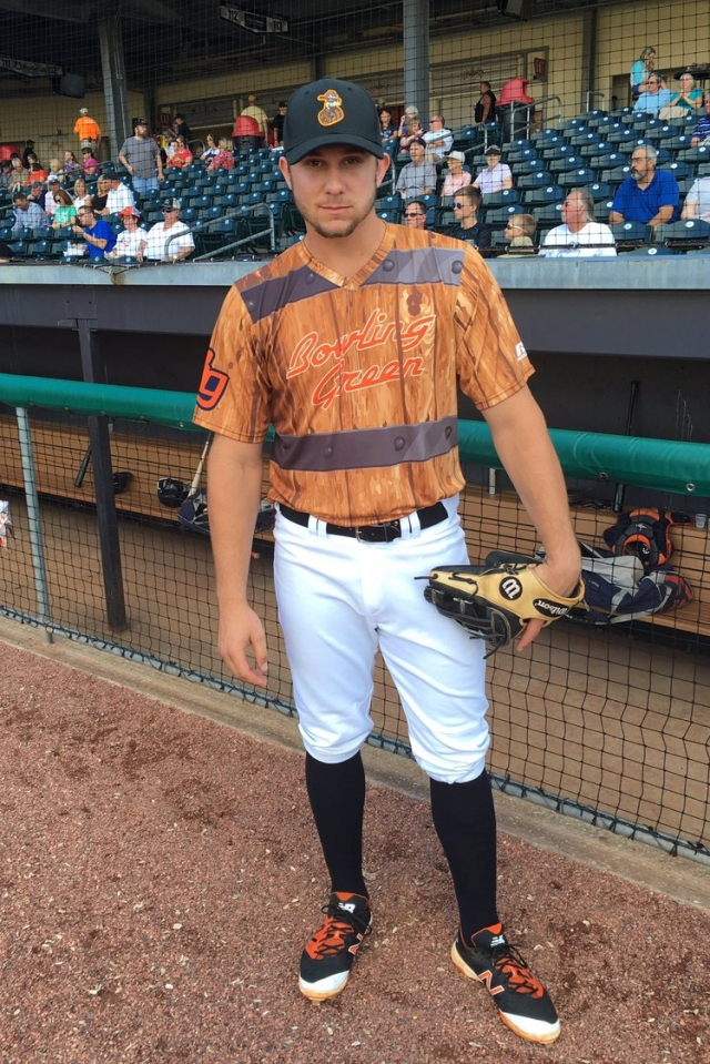 Tampa Bay Rays prospect Kevin Padlo models the Bowling Green Bootleggers uniform prior to Saturday's Hot Rods game. (Photo courtesy of the Bowling Green Hot Rods)