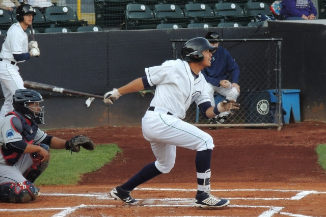 LumberKings SS Rayder Ascanio drove in the winning run for Clinton on Friday. (Photo by Craig Wieczorkiewicz/The Midwest League Traveler)