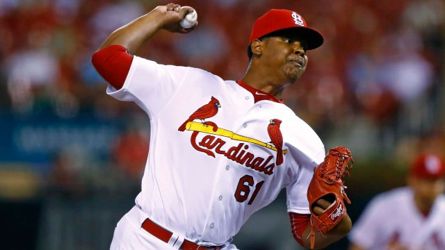 St. Louis Cardinals RHP Alex Reyes delivers a pitch during his MLB debut Tuesday. (Photo by Billy Hurst/The Associated Press)