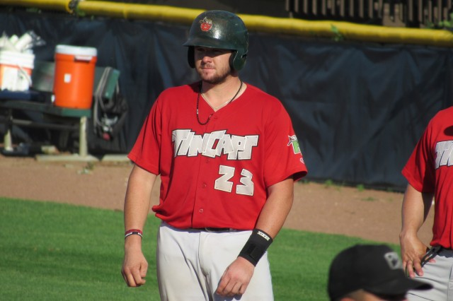 Fort Wayne TinCaps catcher Austin Allen has a 20-game hitting streak. (Photo by Craig Wieczorkiewicz/The Midwest League Traveler)