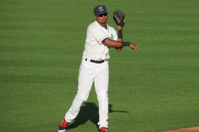 Cedar Rapids Kernels second baseman Luis Arraez's .347 batting average leads the Midwest League.