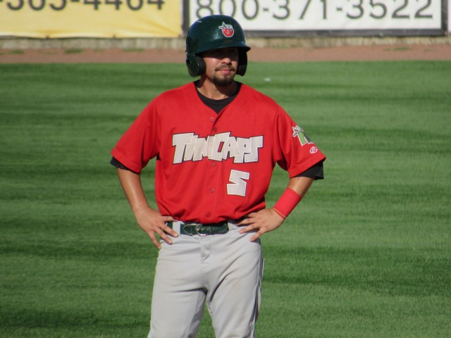 Peter Van Gansen had four of Fort Wayne's 20 hits in the TinCaps' 15-4 win Saturday. (Photo by Craig Wieczorkiewicz/The Midwest League Traveler)