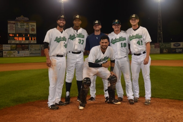 The four LumberKings pitchers who combined to throw a no-hitter Tuesday pose with their catcher, Arturo Nieto, and pitching coach, Peter Woodworth.
