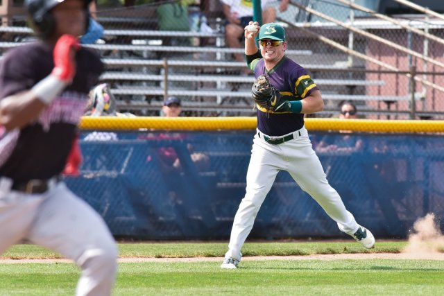 Beloit Snappers third baseman Trace Loehr makes a play during a game earlier this month. (Photo by Dave Baker)