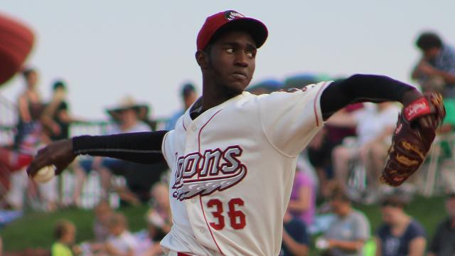 Los Angeles Dodgers prospect Yadier Alvarez pitched five hitless innings Tuesday. (Photo courtesy of the Great Lakes Loons)