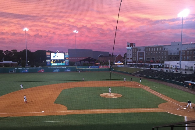 Attendees of Saturday's Loons-Hot Rods game in Bowling Green were treated to a beautiful sunset. (Photo by Hot Rods broadcaster Alex Cohen)