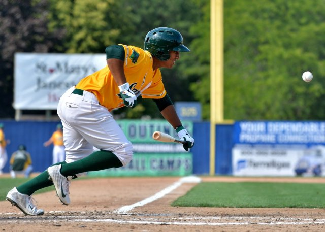 Chris Bostick lays down a bunt for the Beloit Snappers during the 2013 season. (Photo by Dave Baker)