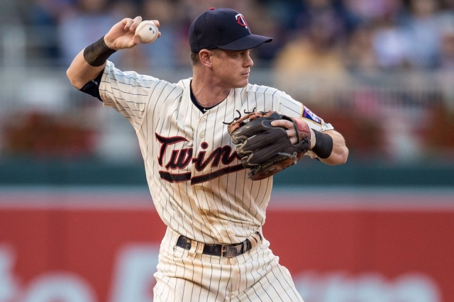 James Beresford played third base for the Minnesota Twins in his MLB debut Saturday. (Photo by Brace Hemmelgarn/Minnesota Twins)