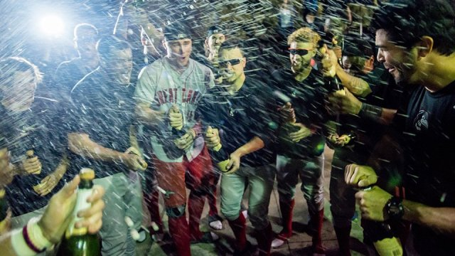 The Great Lakes Loons celebrate after clinching their first trip to the Midwest League Championship Series. (Great Lakes Loons photo)