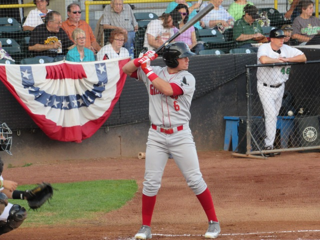 Omar Estevez bats for the Great Lakes Loons during Game 2 of the Midwest League Championship Series.