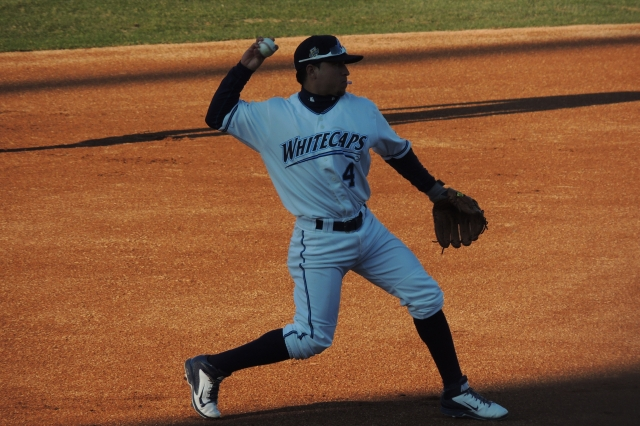 Third baseman Jose Zambrano drove in the winning run for the West Michigan Whitecaps on Wednesday. (Photo by Craig Wieczorkiewicz/The Midwest League Traveler)