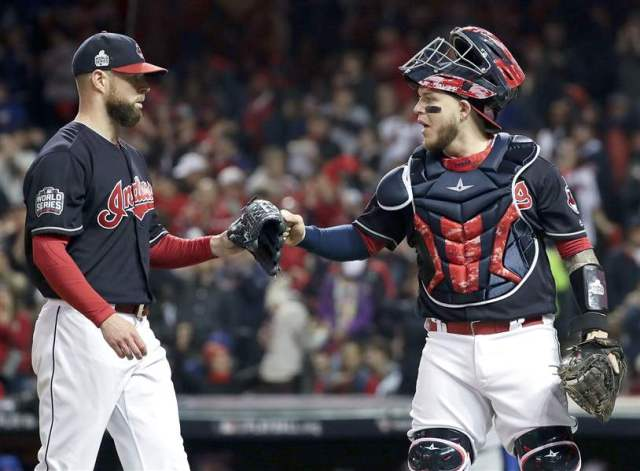 Pitcher Corey Kluber, (left) and catcher Roberto Perez were the two biggest stars for the Cleveland Indians in Game 1 of the World Series. (Associated Press photo)