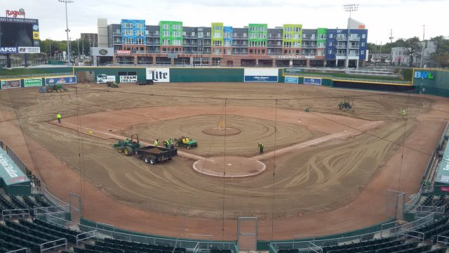 Cooley Law School Stadium is getting a new playing surface for the first time in 11 years. (Lansing Lugnuts photo)
