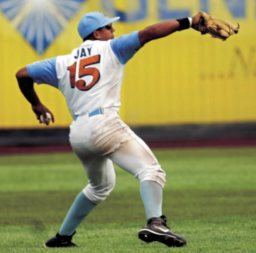 Jon Jay fields a ball during the 2006 season when he played for the Swing of the Quad Cities. (Quad-City Times photo)