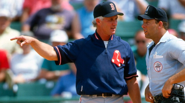 New Kane County Cougars skipper Butch Hobson argues with an umpire during a game in 1993 when he managed the Boston Red Sox. (Getty Images photo)