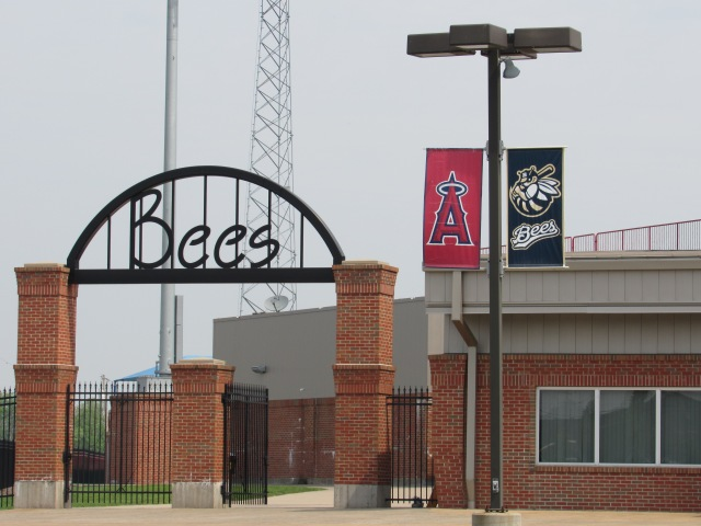 Banners representing the Bees and their MLB affiliate, the Los Angeles Angels, hang outside Burlington's Community Field. (Photo by Craig Wieczorkiewicz/The Midwest League Traveler)